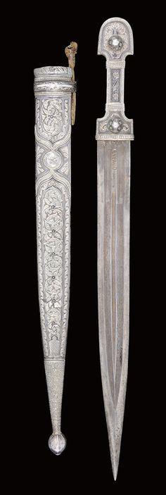 A NIELLOED SILVER DAGGER, GEORGIA OR EASTERN TURKEY, 19TH CENTURY