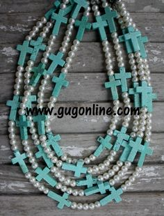 GUG Hand Strung Pearl Necklace with Turquoise Cross $19.95-$27.95 www.gugonline.com