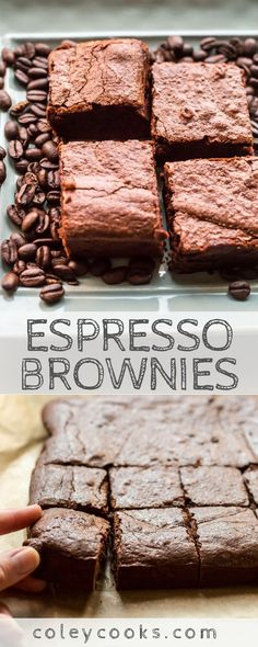 ESPRESSO BROWNIES | Rich, chocolatey, fudgy, dense brownies with a kick of coffee. Perfect after dinner dessert! The best brownies ever! #brownies #espresso #chocolate #coffee #recipe #dessert | ColeyCooks.com