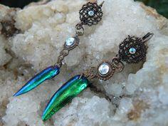 victorian jewel beetle earrings beetle wings vintage amethyst rhinestones victorian gothic  gypsy boho hippie and belly dancer. $25.00, via Etsy.