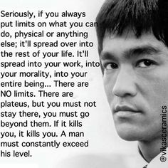 Exceed your level💪🏼 Inspirational Bible Quotes, Meaningful Quotes, Great Quotes, Motivational Quotes, Wisdom Quotes, Life Quotes, Bruce Lee Martial Arts, Martial Arts Quotes, Bruce Lee Quotes