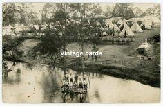 South Australia WWI Mitcham Military Camp, Vintage Real Photo Postcard c.1916