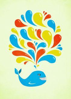 Colorful Swirls Happy Cartoon Whale Art Print - $14.00 #illustration #society6