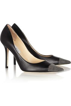 jimmy choo studded leather pumps