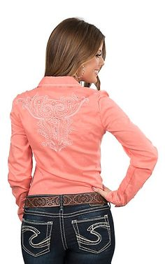 Cowgirl Legend Women's Coral with Embroidered Details Long Sleeve Western Snap Shirt | Cavender's