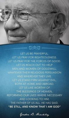 Prophetic words of wisdom for our time from an inspired leader and truly great man. Enjoy more from President Hinckley http://pinterest.com/pin/24066179228827332; http://facebook.com/242634619088155 PASS IT ON.