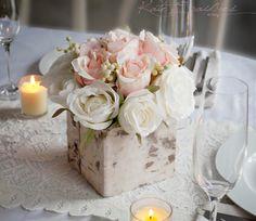 Wedding Centerpiece - Rustic Blush and Ivory Rose Wedding Centerpiece by KateSaidYes on Etsy https://www.etsy.com/listing/226827246/wedding-centerpiece-rustic-blush-and