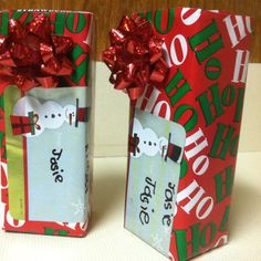 Juice boxes wrapped as presents for pre-k Christmas party!