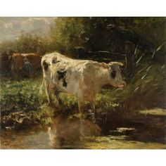 Jacob Maris Cow beside a Ditch Oil on canvas 65 x 81 cm Rijksmuseum, Amsterdam, The Netherlands Oil On Canvas, Canvas Art, Wall Art Prints, Canvas Prints, Cow Painting, Cow Art, Amsterdam, Dutch Painters, Tier Fotos