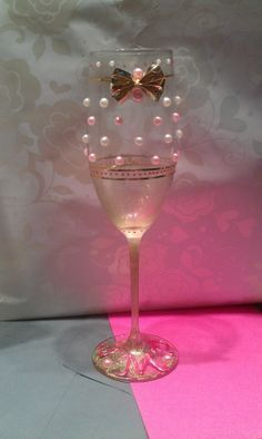 Wedding Toasting Champagne Flutes Pink & White Pearl with Gold Accents, Bow and Glitter Monogrammed by LillianMarieDesigns on Etsy