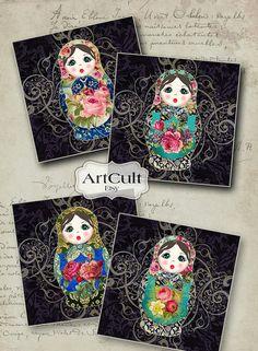 BABUSHKA DOLLS  38x38 inch Images Digital Collage Sheet by ArtCult Russian Nesting Dolls- Matriochka-Babushka www.matrioskas.es