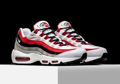 NIKE AIR MAX 95  Color: White/University Red-Black-Wolf Grey Style Code: 749766-601 Price: $160