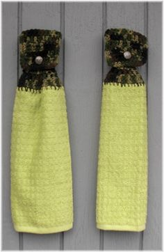 Hanging Kitchen Towels Camouflage & Lime Green by DebbieCrochets
