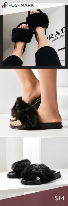 UO Faux Fur Pool Slide BRAND NEW NEVER WORN! Just cut off the tags! Urban Outfitters Shoes Sandals