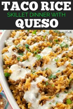 Taco Rice Skillet Dinner with Queso! A one-pan recipe made with ground beef, tac. Taco Rice Skillet Dinner with Queso! A one-pan recipe made with ground beef, taco seasoning and Mexican style rice drenched in an easy queso cheese sauce. Taco Taco, Healthy Recipes, Cooking Recipes, Cooking Ideas, Free Recipes, Easy Recipes, Cheese Recipes, Copycat Recipes, Crock Pot Recipes