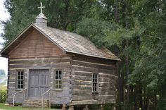 Little Country Church | Log cabin church at Pioneer Village … | Flickr