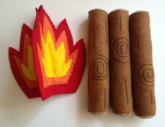 Felt Campfire - found the pattern for this fire and logs in the Big Little Felt Universe book ( at the library).