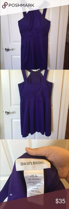 """David's Bridal Formal Dress Only worn once for a wedding. Price is negotiable. Size 14P. The color is a royal purple (like TCU). Hits a little above the knee on a 5'3"""" person. Dresses"""