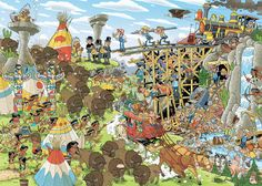 Falcon Jumbo Jigsaw Puzzles: Pieces of History - The Wild West by Rob Derks at the Jigsaw Puzzle Shop Puzzle Shop, New Puzzle, Happy Birthday Jan, Fun Illustration, Illustrations, Western World, A Cartoon, Wild West, Art History