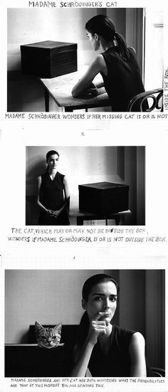 The No. 4 chair is definitely there. /  Madame Schroedinger's Cat by Duane Michals, 1998.