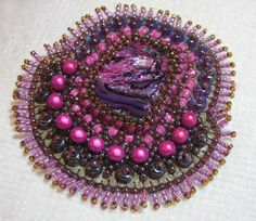 Bead embroidered pink pendant