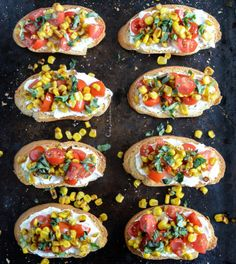 Grilled Corn + Tomato Crostini with Whipped Roasted Garlic Goat Cheese I howsweeteats.com