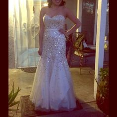 White Mermaid Prom Gown Elegant and fun for your special night :) It is a satin like fabric. Fits a size 2. Worn once for winter formal. Dresses Prom