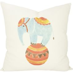 Add a charming touch to the playroom or your child's room with this handmade cotton pillow, showcasing a circus elephant print.   Pr...