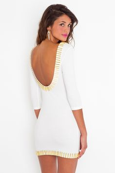 Ivory body-con dress featuring a gold bar trim and plunging scoop back.