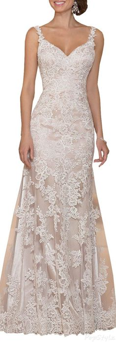 Harshori Satin Lace Vine Shoulder Straps Wedding Dress