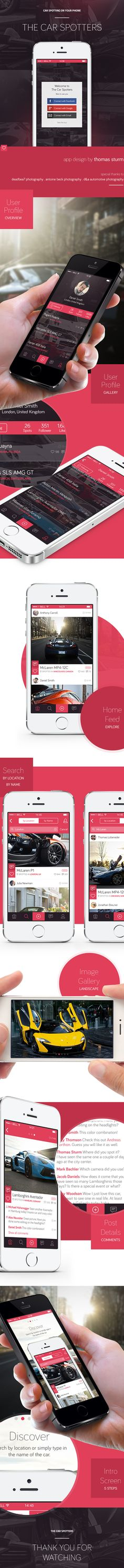 A nice #FlatDesign of a car-spotting app. We're waiting for it to be developed, preferably in five minutes, before that sweet Gallardo vanishes from our sight forever.