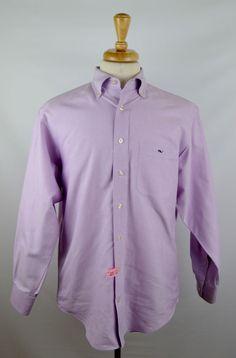 Vineyard Vines Tucker Shirt Men's Medium Solid Light Purple Cotton LS Button  #vineyardvines #ButtonFront