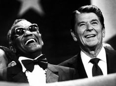 Ray Charles and Ronald Reagan | 72 Celebrities Hanging Out And Being Awesome Ray Charles was cruelly told JFK came out of hiding to hear him play in person.
