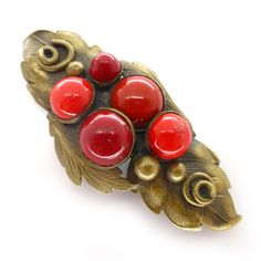 Vintage Art Deco Czech Red Bubble Glass Leaf Pin Brooch | Clarice Jewellery | Vintage Costume Jewellery