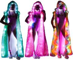 Light-Up Hooded Duster Rave Clothing, Festival Clothing, Festival Outfits, Future Fashion, Rave Outfits, Burning Man, Light Up, Hoods, Oc