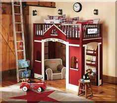 Fire Dept loft bed - great idea & cute theme!
