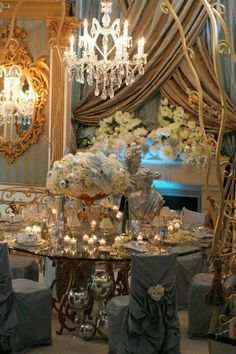 Exquisite....  use Tiffany blue lighting to incorporate color into white or ivory table setting & background