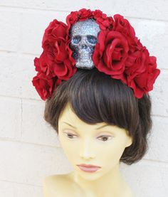 Red Rose Dia De Los Muertos Headband, Day of the Dead, Flower Crown- Ready to Ship