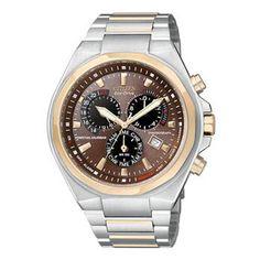 Citizen Perpetual Calendar Mens Bracelet Brown Dial Watch #citizen #watch