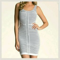 NWOT Striped Bodycon Dress NWOT Bebe. Scoop neck and concealed back zip closure. Two layers. Mom bought this but never wore it. bebe Dresses