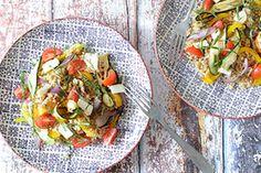 Qooking.ch | Salade de boulghour aux légumes grillés Tacos, Mexican, Ethnic Recipes, Food, Bulgur, Salads, Recipe, Cold Lunches, Essen