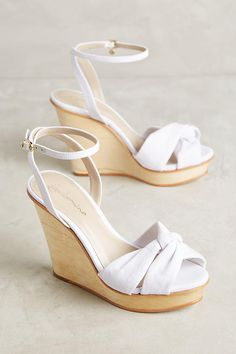 Shop unique high heels from Anthropologie for your essential pumps, kitten heels and more. White Wedges, White Shoes, White Wedge Heels, Kitten Heel Pumps, High Heel Pumps, Platform Pumps, Stiletto Heels, Shoes Heels Wedges, Wedge Sandals