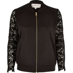 River Island Black lace sleeve bomber jacket ($90) ❤ liked on Polyvore featuring outerwear, jackets, black, bomber jackets, coats / jackets, women, zip bomber jacket, zip jacket, bomber jacket and zipper jacket