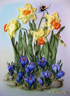 Ribbon embroidery of daffodils and crocus - Gallery.ru / В окно повеяло весною... - В окно повеяло весною... - shennon