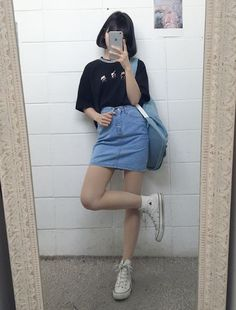 This outfit has got to be in everyone's Korean wardrobe considering this look is worn by many girls,even though everybody wears this they all have some sort of unique twist added to it whether its the short hair or long hair , the shoes or the style of the t-shirt.: