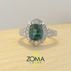 """Oh this one was one of my favorites. """"Was"""" because it is off to its new home.  Lucky you. Blue green tourmaline in 18K white gold. One of a kind. #zomacolor #finejewelry #champagnegem #thatsdarling #soloverly #instajewelry #tourmaline #livecolorfully #colorstory #finegems #chiaraferragni"""