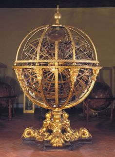 An armillary sphere (variations are known as spherical astrolabe, armilla, or armil) is a model of objects in the sky (in the celestial sphere), consisting of a spherical framework of rings, centred on Earth, that represent lines of celestial longitude and latitude and other astronomically important features such as the ecliptic. As such, it differs from a celestial globe, which is a smooth sphere whose principal purpose is to map the constellations. Read more on wikipedia.