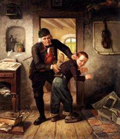 """In The Village School"". Hubert Salentin (1822 – 1910), German painter."