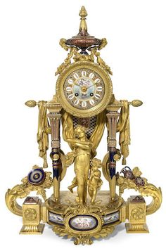 An unusual Louis XVI style gilt bronze and jeweled porcelain figural mantle clock <br>fourth quarter 19th century