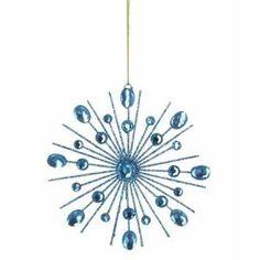"4.75"" Retro Blue Jeweled Snowflake Christmas Ornament"